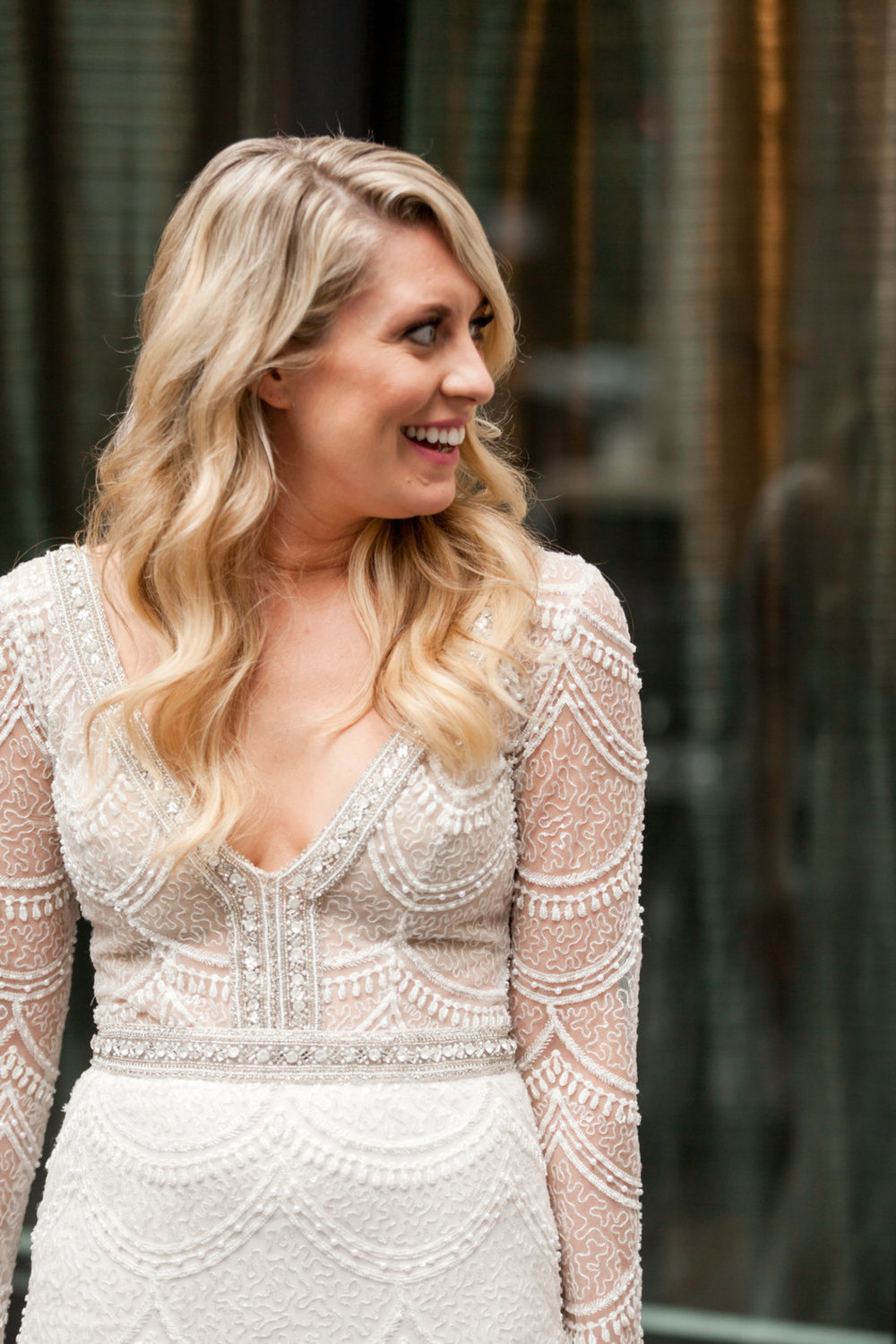 Embroidered Long Sleeve Wedding Gown Chicago Wedding Julia Franzosa Photography