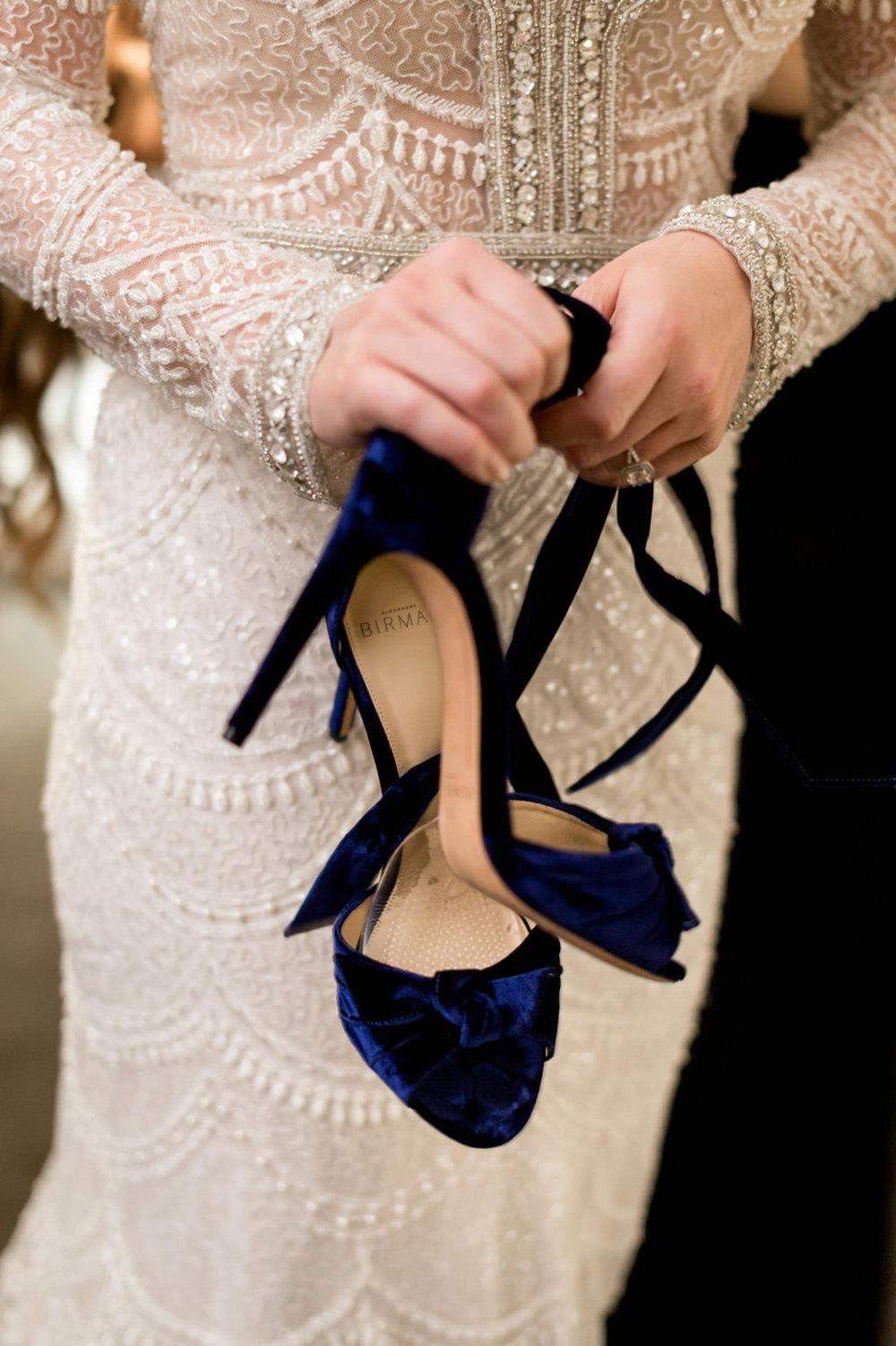 Blue Velvet Bridal Shoes Chicago Wedding Julia Franzosa Photography