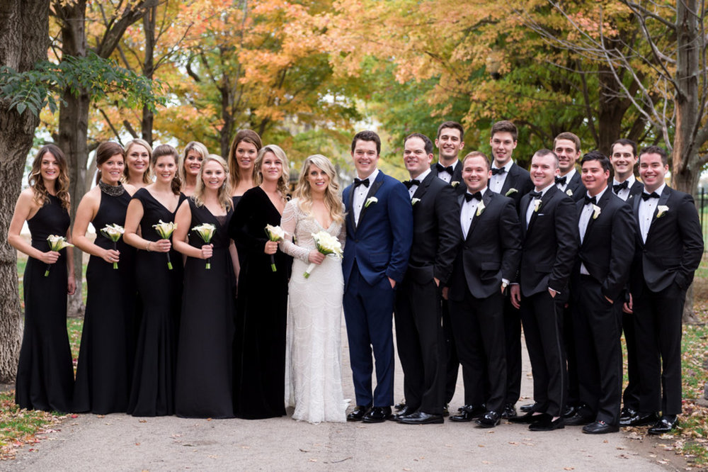 Black Elegant Bridal Party Chicago Wedding Julia Franzosa Photography