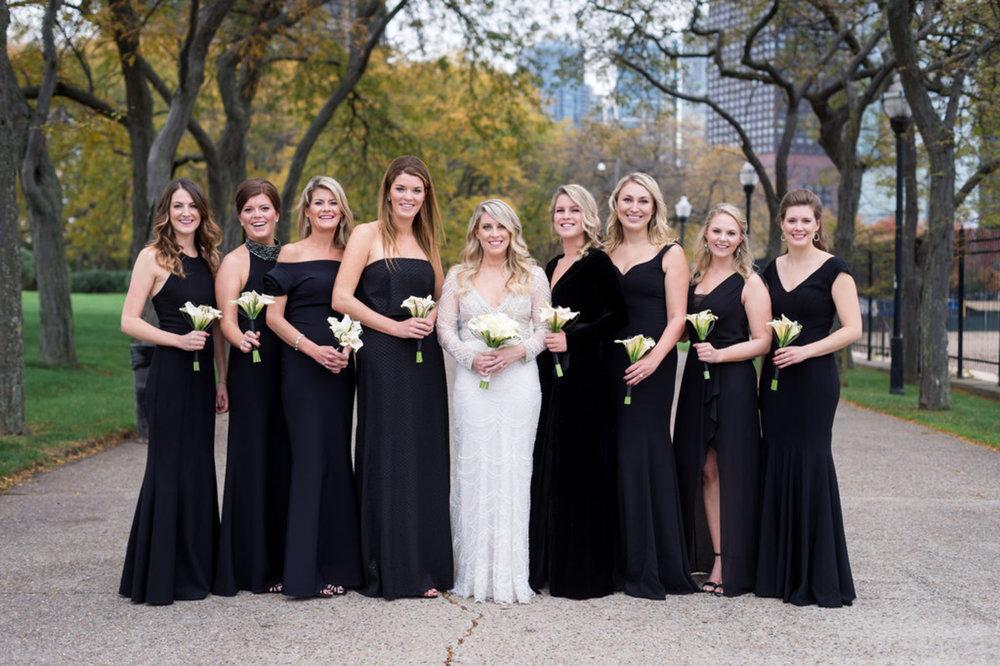 Black Elegant Bridesmaids Gowns Chicago Wedding Julia Franzosa Photography