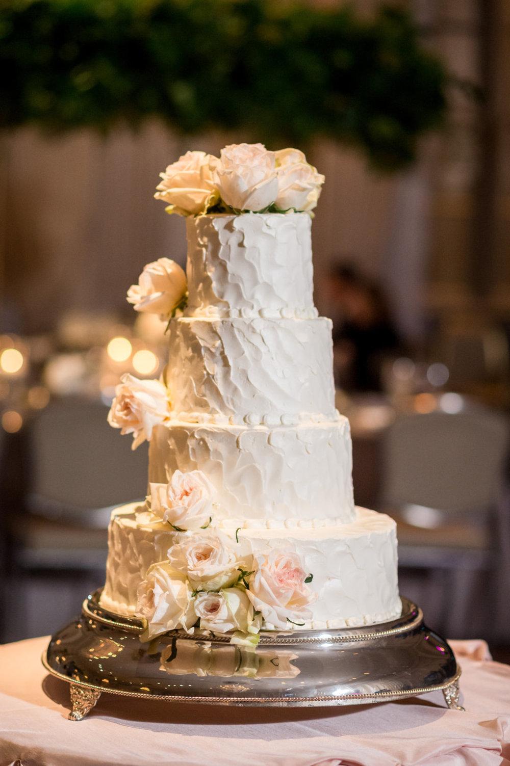 4 Tiered White Rose Wedding Cake Chicago Wedding Julia Franzosa Photography