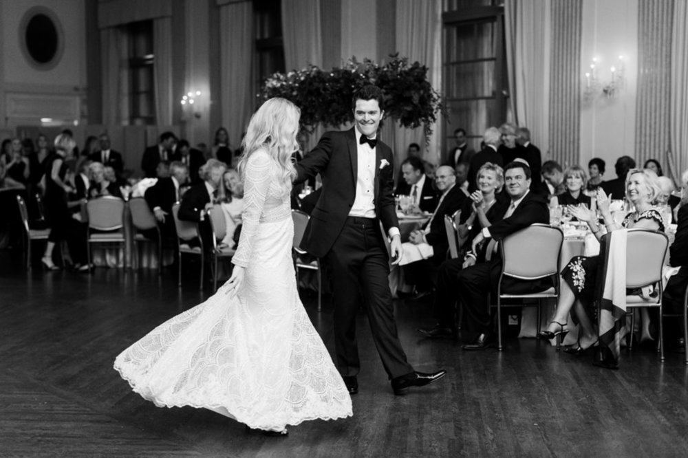 Bride and Groom First Dance The Standard Room Chicago Wedding Julia Franzosa Photography