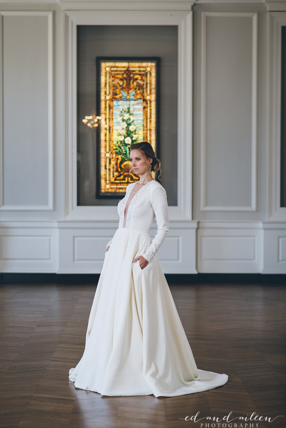 Long Sleeve Low Cut Sexy Wedding Gown with Pockets Chicago Wedding Ed and Aileen Photography