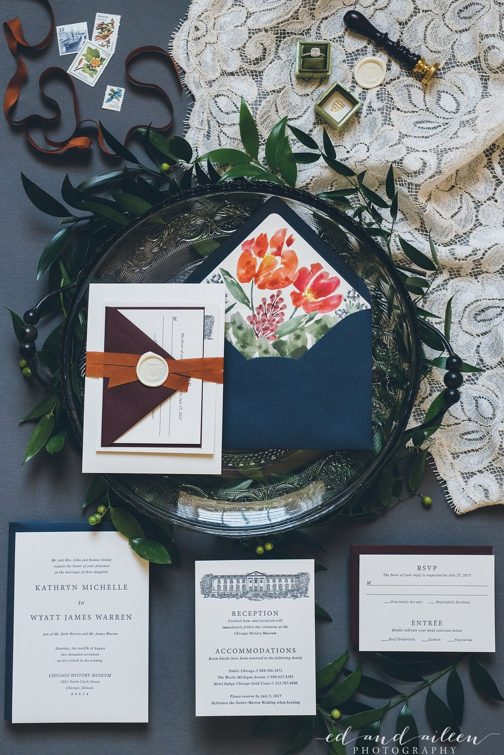 Blue Floral Wedding Invitations Chicago Wedding Ed and Aileen Photography
