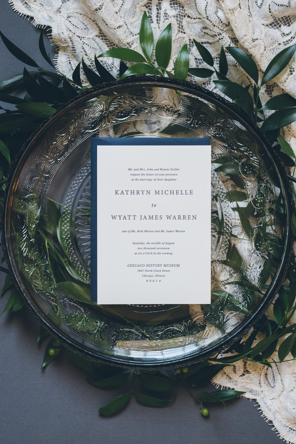 Blue and Greenery Wedding Invitation Chicago Wedding Ed and Aileen Photography