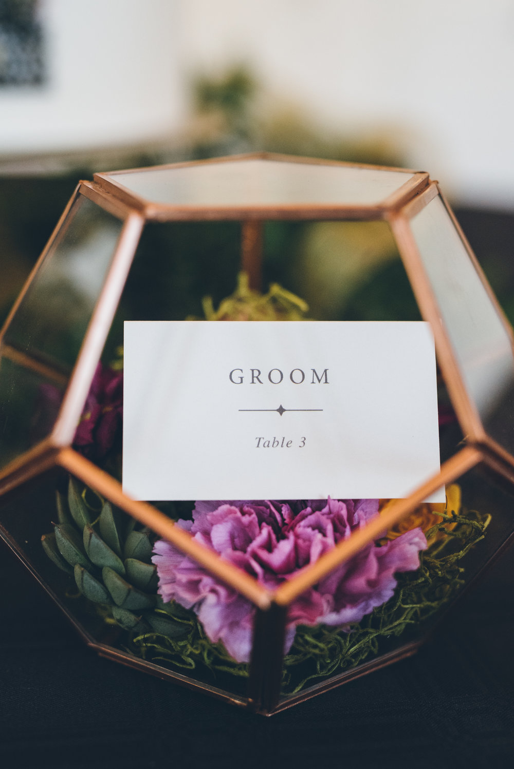 Floral Place Cards Chicago Wedding Ed and Aileen Photography