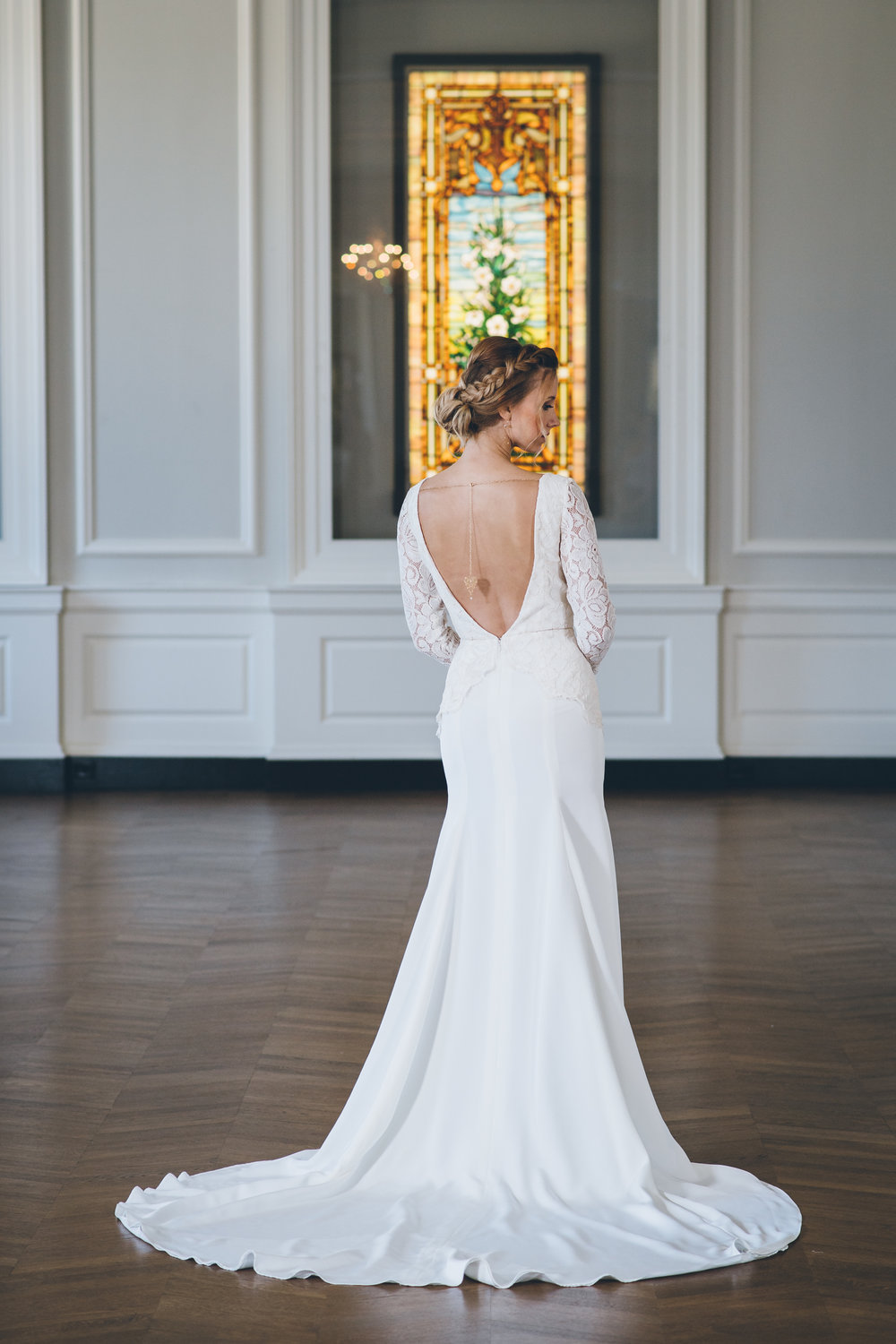 Low Back Fit and Flare Wedding Gown Chicago Wedding Ed and Aileen Photography