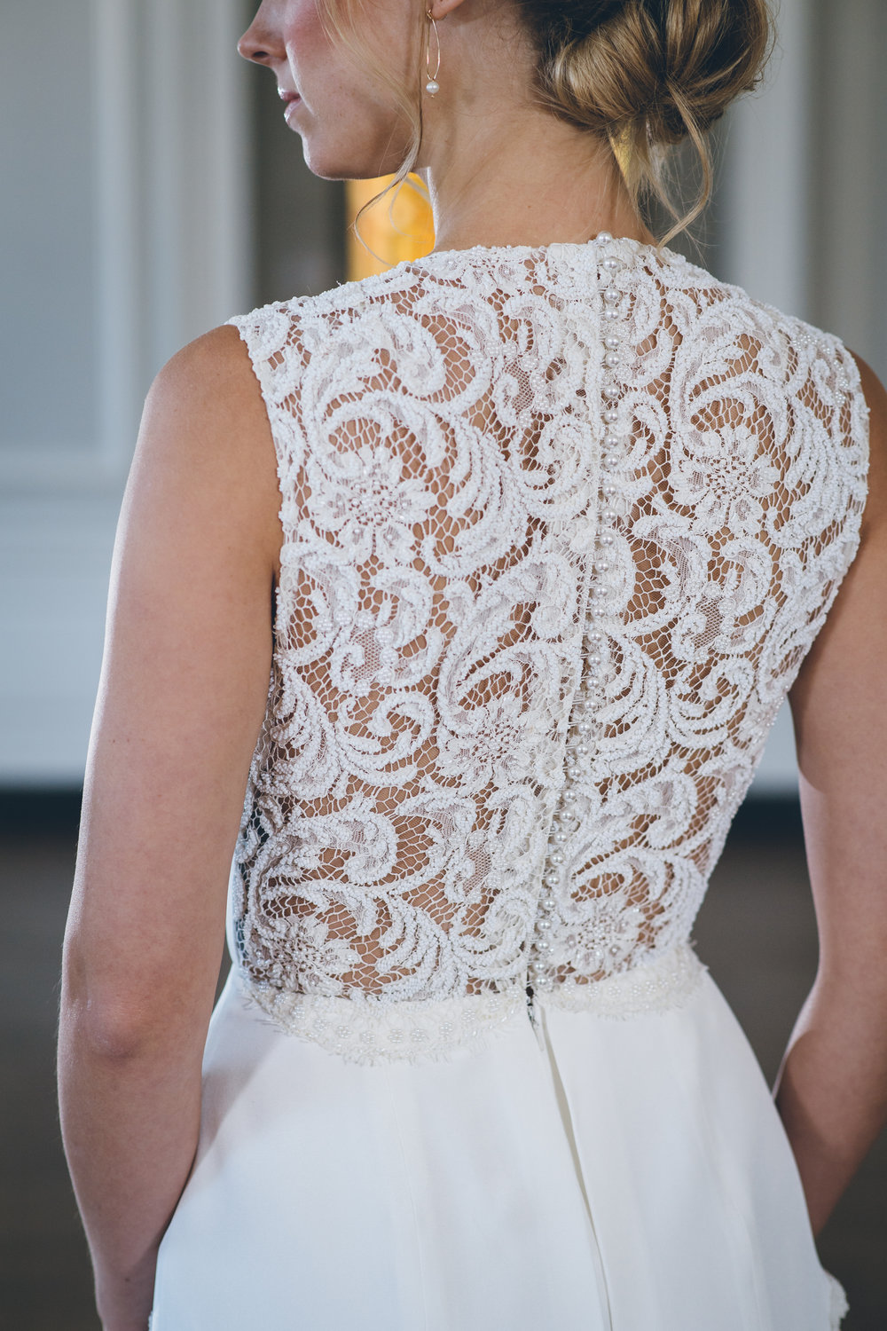 Detailed Lace Back Wedding Gown Chicago Wedding Ed and Aileen Photography