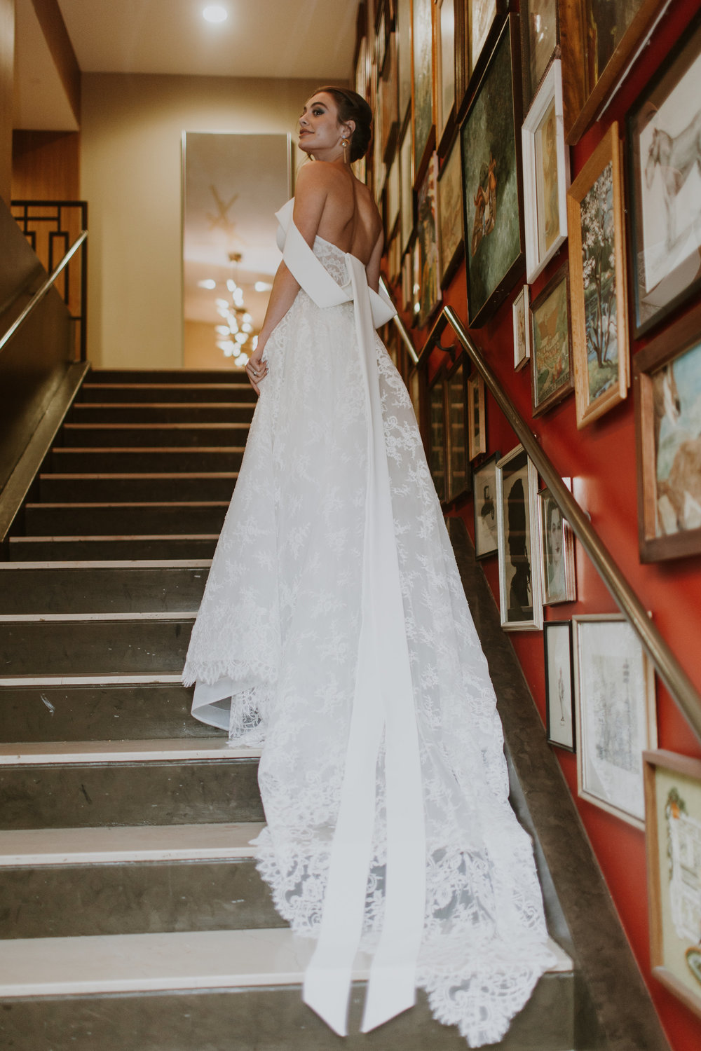 Lace Off the Shoulder Sultry Bridal Wedding Gown Gabrielle Daylor Photography