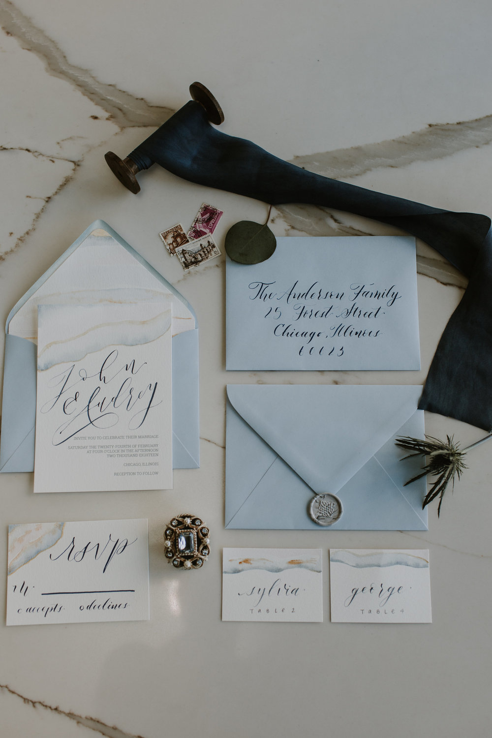 Pale Blue Vintage Wedding Invitation Chicago Wedding Gabrielle Daylor Photography