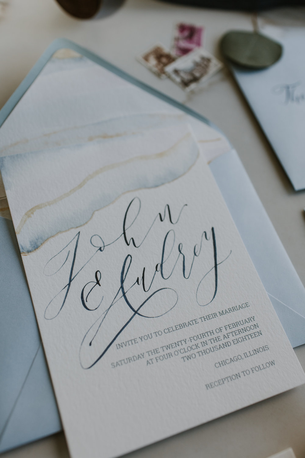 Pale Blue Vintage Invitation Chicago Wedding Gabrielle Daylor Photography