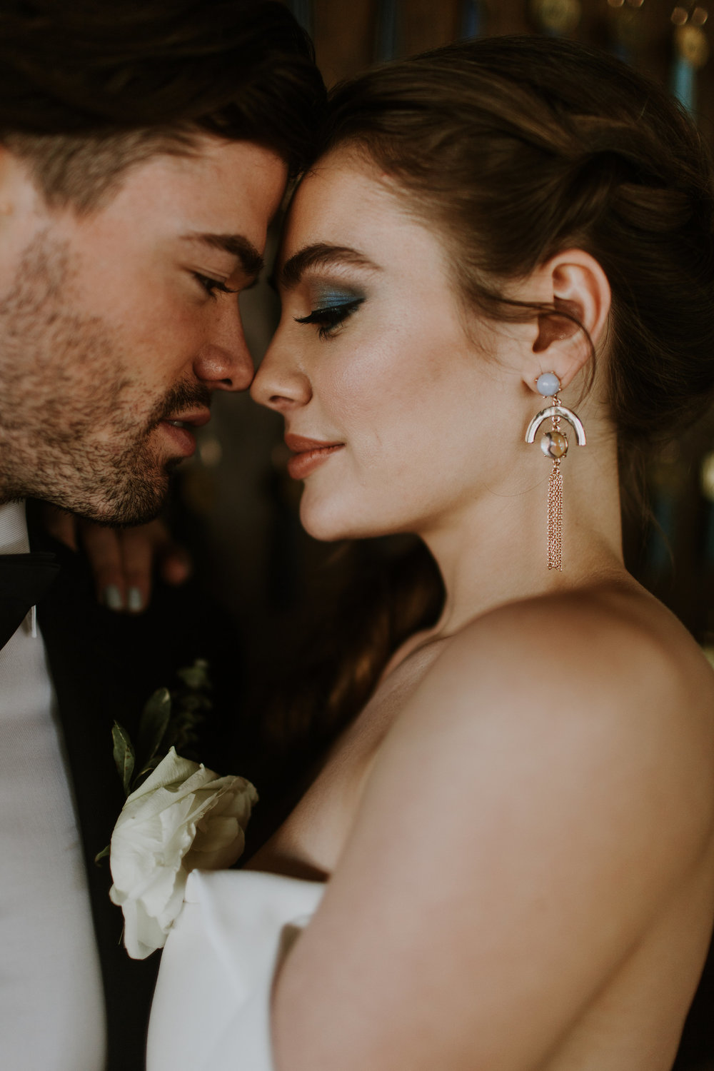 Intimate Bride and Groom Portrait Chicago Rooftop Wedding Gabrielle Daylor Photography