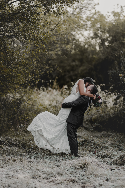Bride and Groom Portrait Kiss Chicago Elopement Jenn Marie Photography