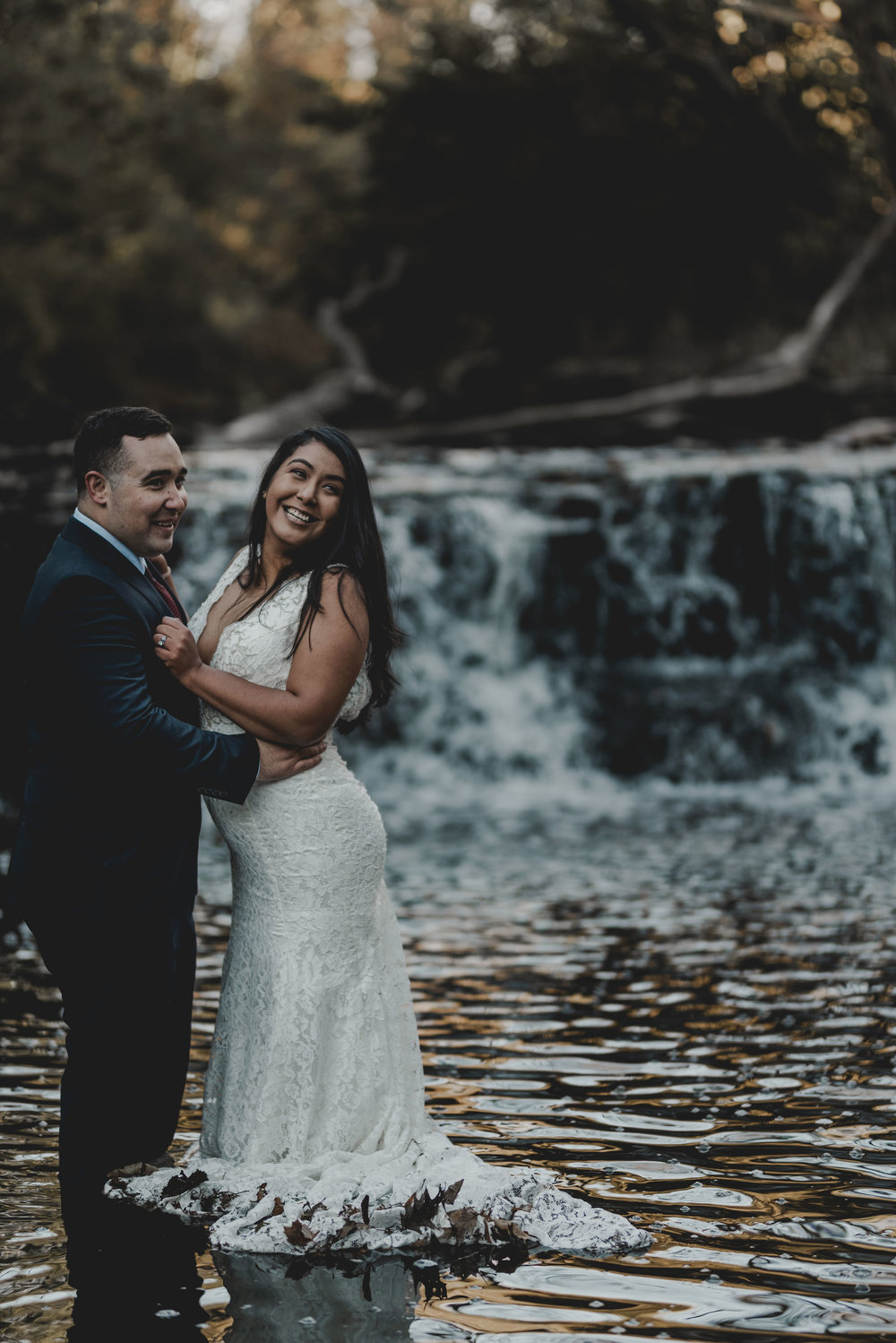 Bride and Groom Portrait Waterfall Glen Chicago Elopement Jenn Marie Photography