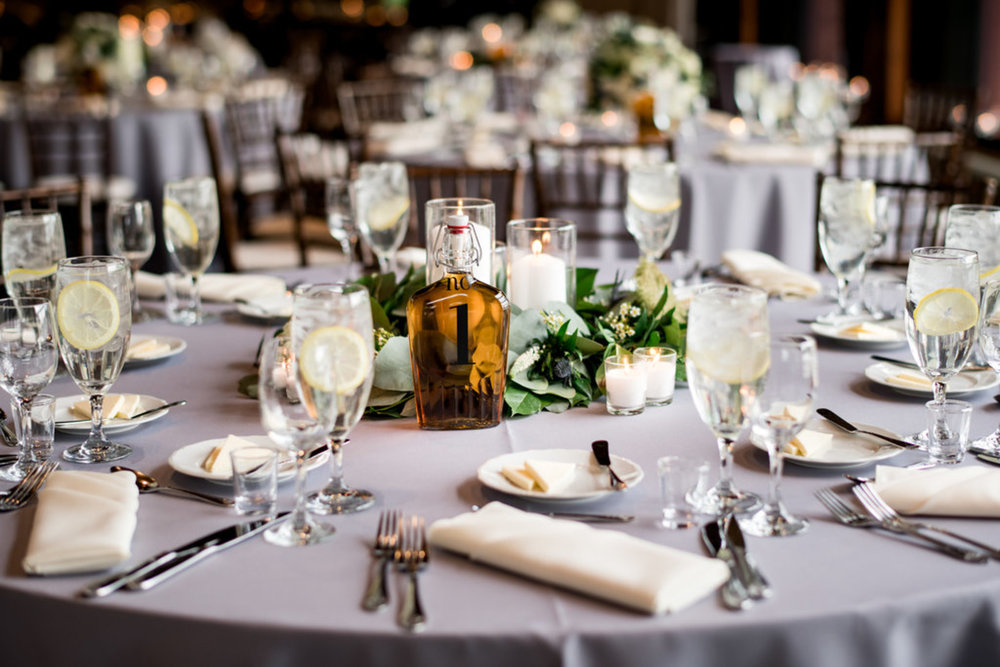 Greenery Candle Elegant Centerpiece Chicago Wedding Julia Franzosa Photography