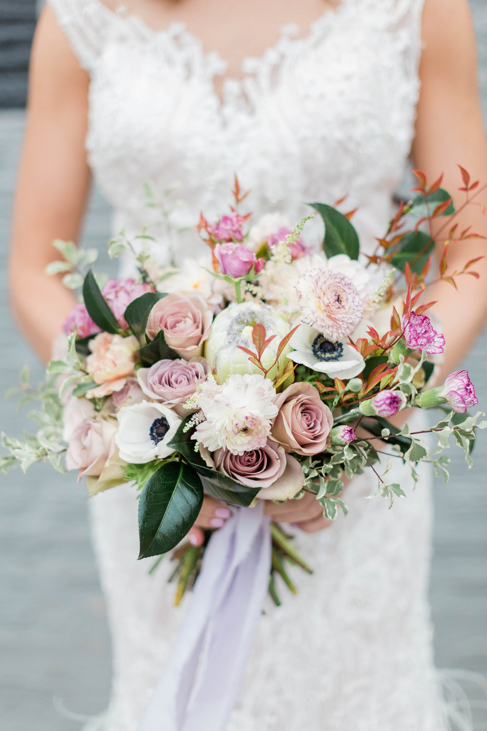 White and Pink Bridal Bouquet Chicago Wedding Photography by Lauryn