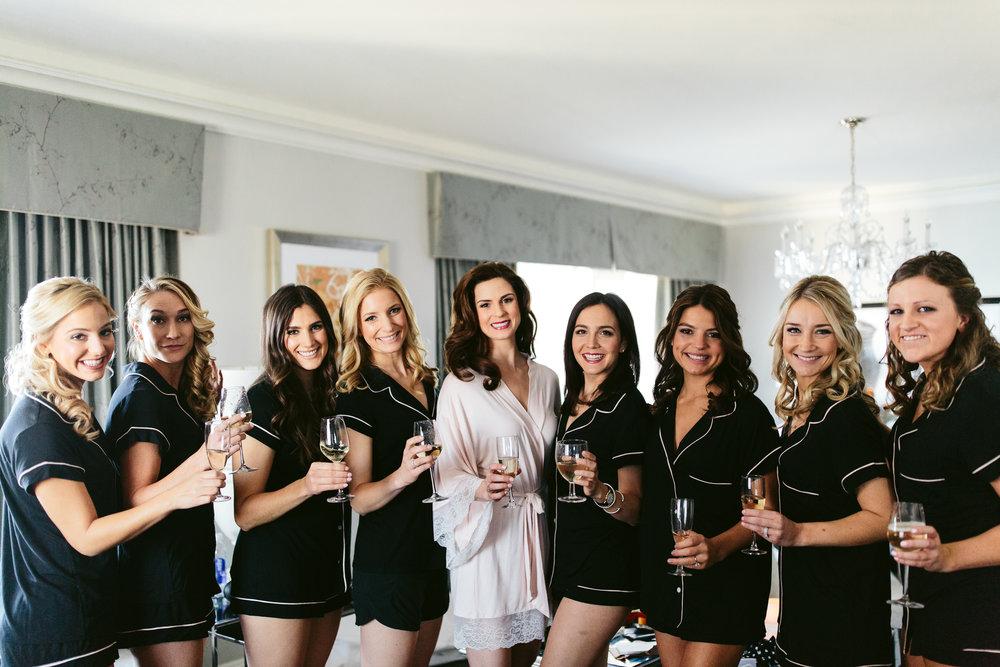 Bridal Entourage Pajamas Chicago Wedding Nicodem Creative