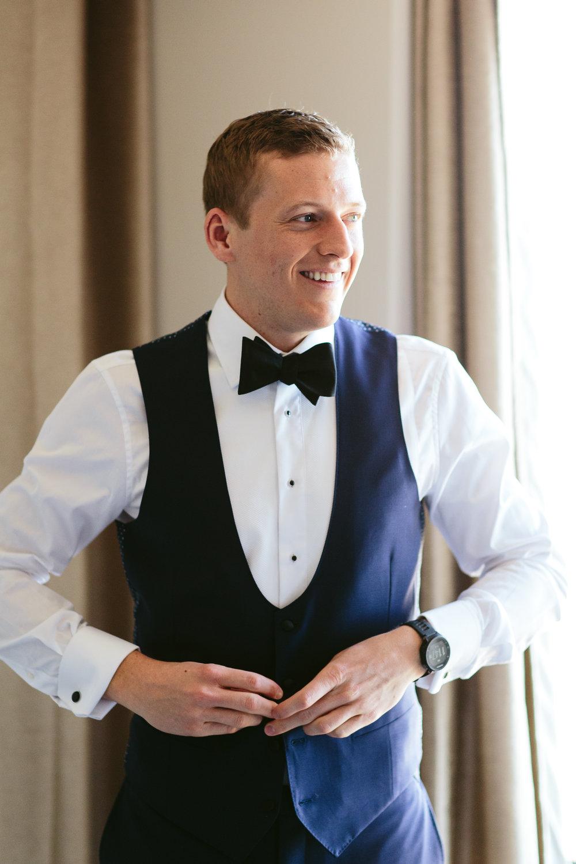 Groom Candid Getting Ready Chicago Wedding Nicodem Creative
