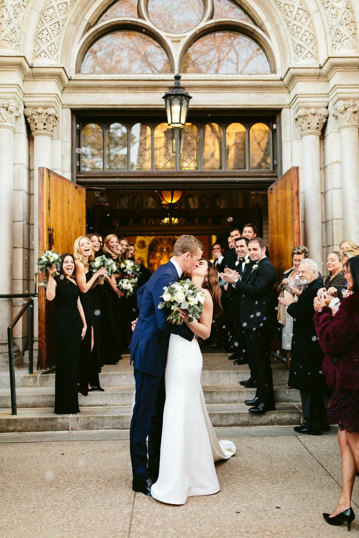 Exit Shot St Michael Old Town Chicago Wedding Ceremony Nicodem Creative