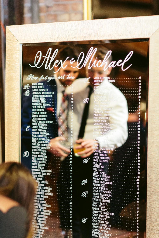 Seating Chart Alternative Mirror Chicago Wedding Nicodem Creative