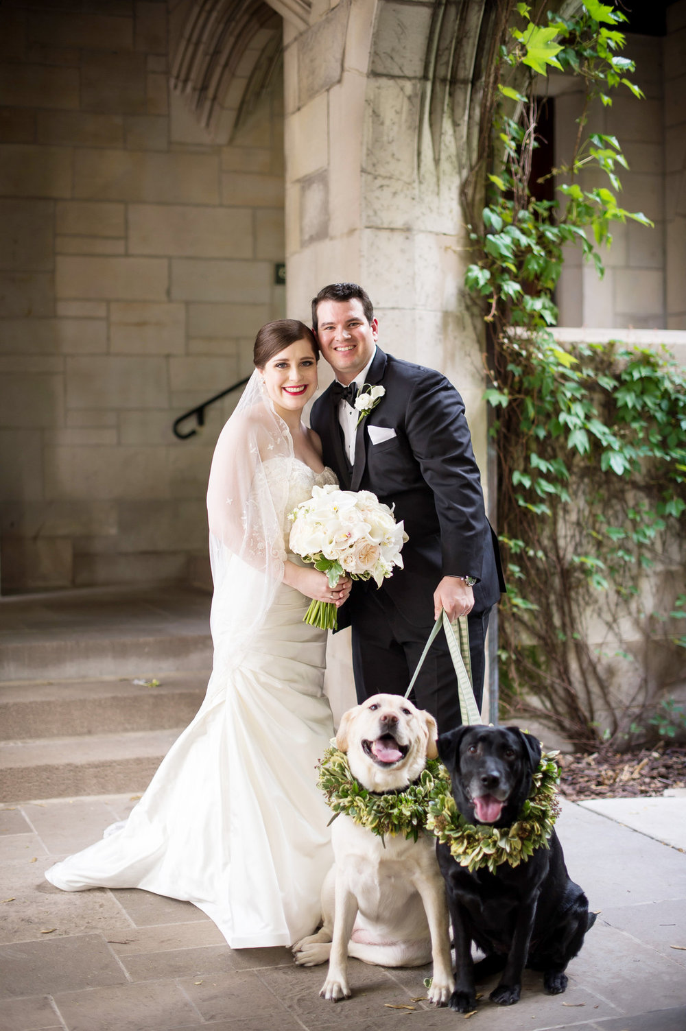 Bride, Groom and Pups Chicago Wedding Julia Franzosa Photography