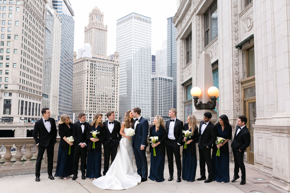 Black and Navy Blue Bridal Party Chicago Wedding Emilia Jane Photography