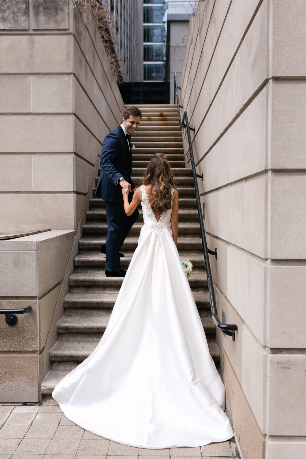 Low Back Silk Bridal Gown Chicago Wedding Emilia Jane Photography