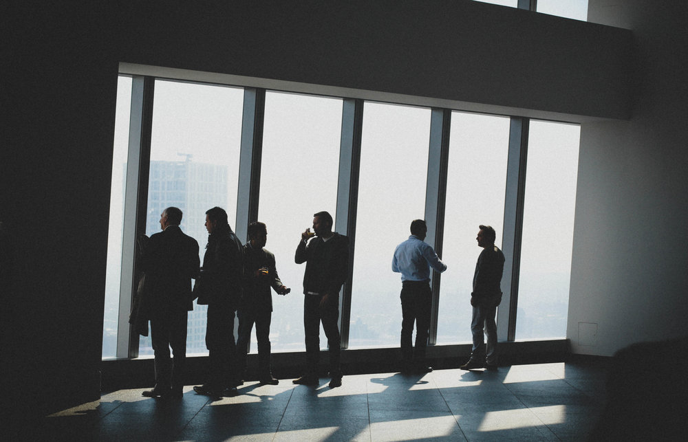 Businesspeople at a fancy 'do at One World Trade, 2015, ® me