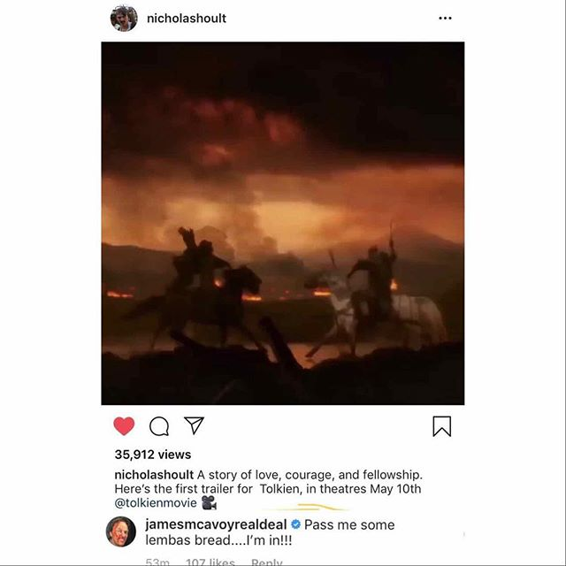 Omg! I can't wait for the @tolkienmovie and @jamesmcavoyrealdeal has the best comment!!! 🤣🤣🤣 #tolkien #lordoftherings #lotr #hobbits #onering #elves #wizards #jrrtolkien #oneringtorulethemall #jamesmacavoy #nicholashoult