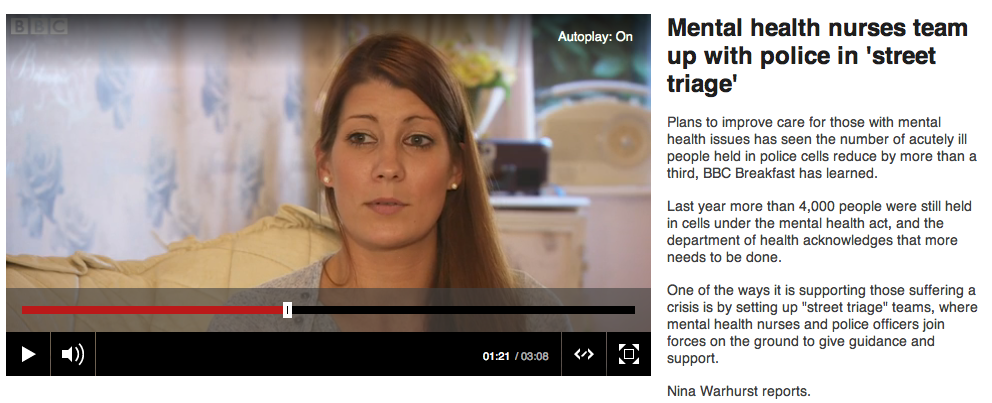 BBC News Interview regarding the use of police and cells in crisis care