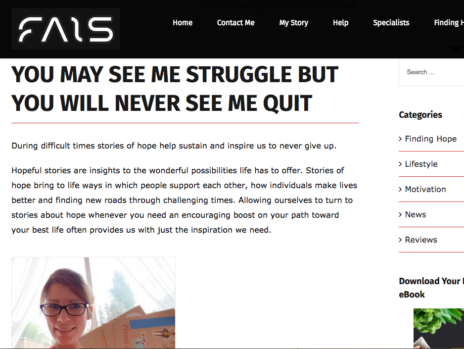 Article about my fight with mental health on  The Fais Project