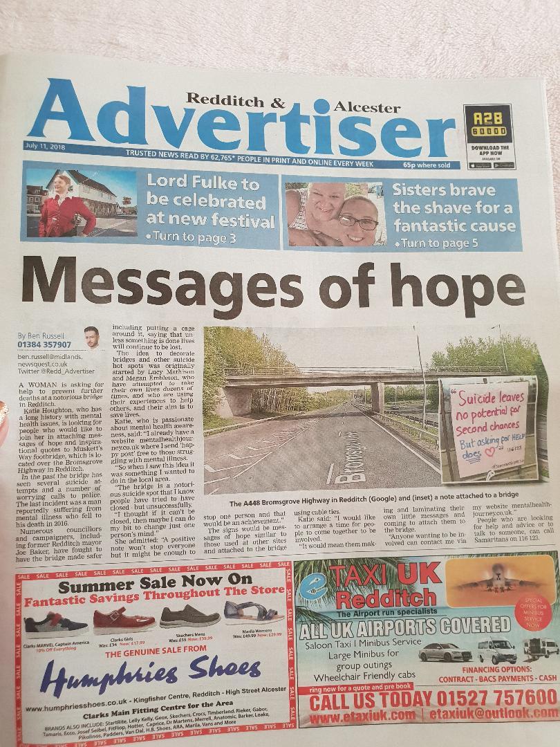 REDDITCH ADVERTISER , NOTES OF HOPE ON A BRIDGE