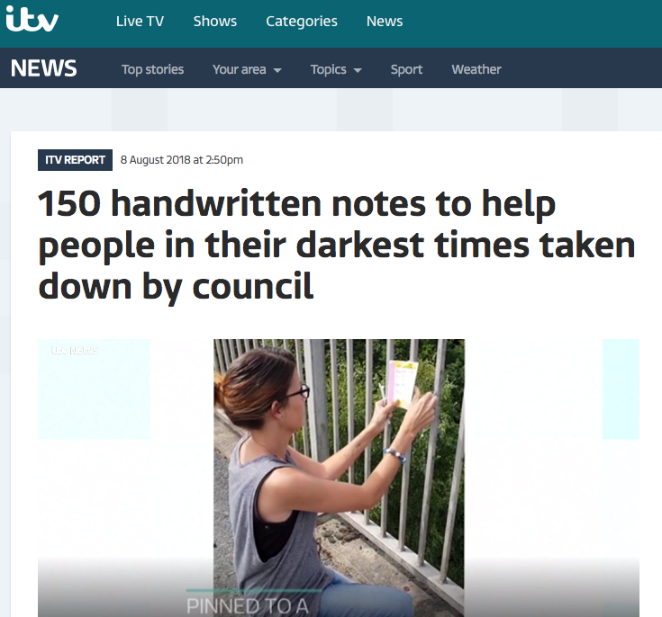 My Notes Of Hope Project after the council removed them on ITV Central