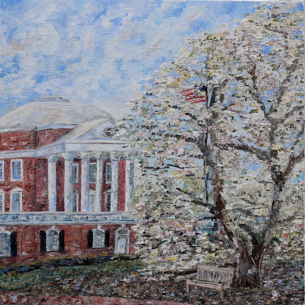 "- Rotunda and Magnolia2018. oil on canvas. 20x20"".$300sold"
