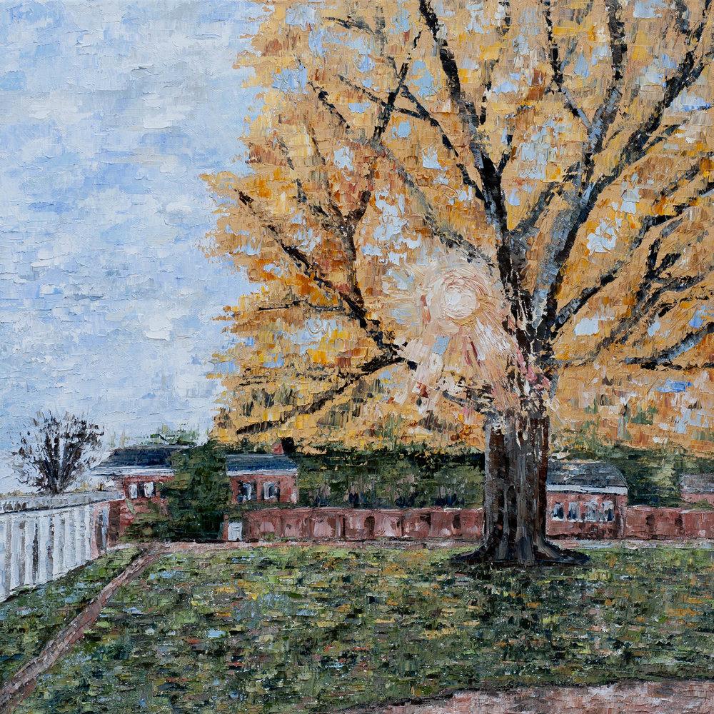 "- Pratt Ginkgo (V)2018. oil on canvas. 20x20"".$300sold."