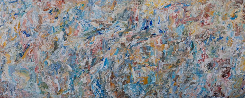"- 05.20.20182018. oil on canvas. 16x40"".$100"