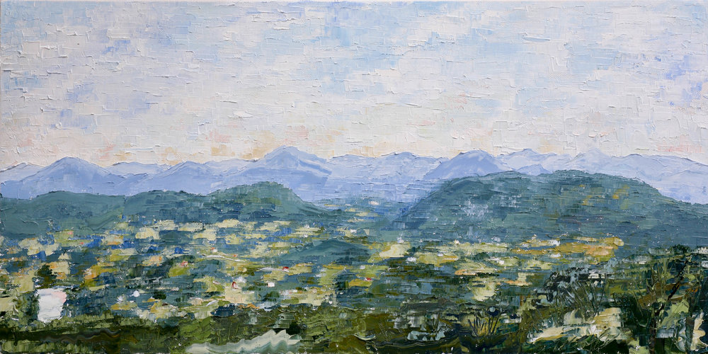 "- Rockfish Valley, en plein air2018. oil on canvas. 12x24"".$150"