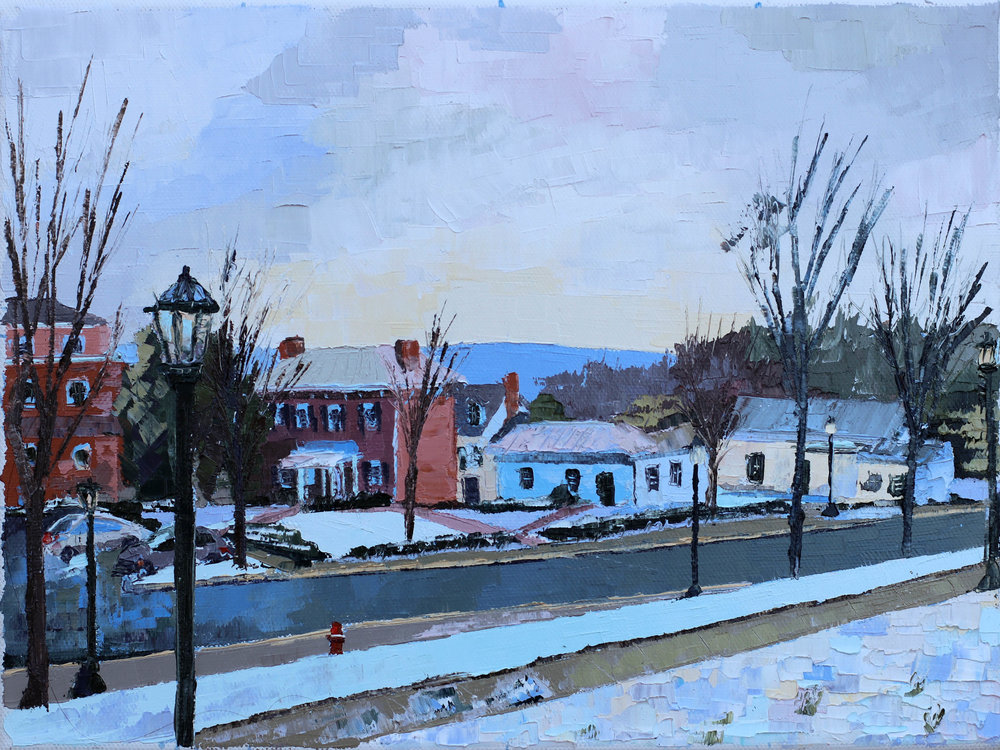 "- Dawson's Row2018. oil on canvas. 9x12"".$150sold."