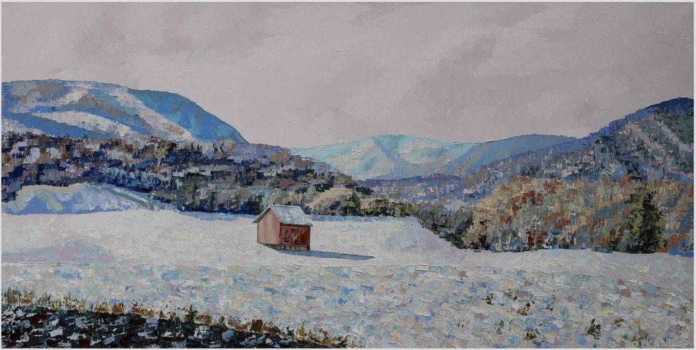 "Backroads (II):Shenandoah - 2019. oil on canvas. 24x48"".Central Virginia."