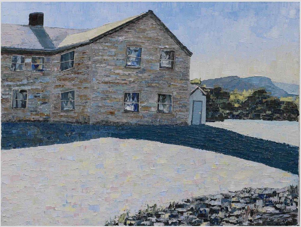 """Backroads (III):Backdoor Shadow - 2019. oil on canvas. 24x48"""".Central Virginia."""