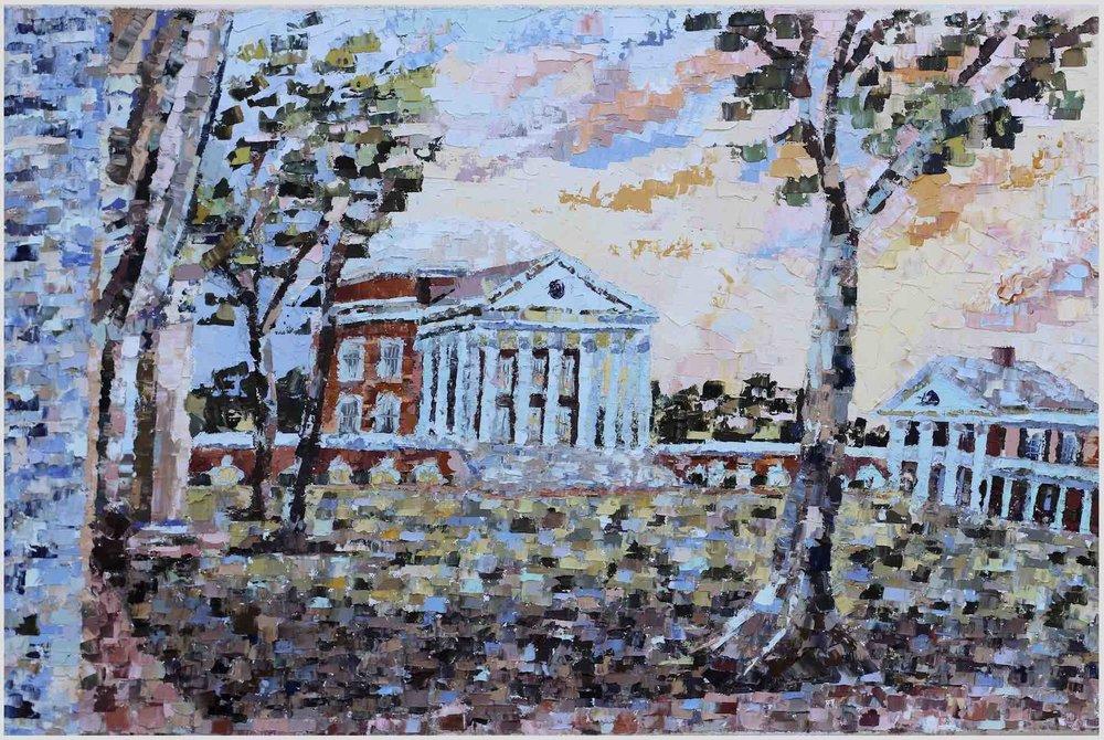 """Academical Village (III) - 2019. oil on canvas. 16x24"""".Charlottesville, Virginia."""