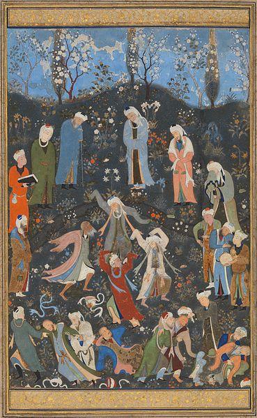 Dancing Sufi dervishes, by  Kamāl ud-Dīn Behzād  (c. 1480/1490)