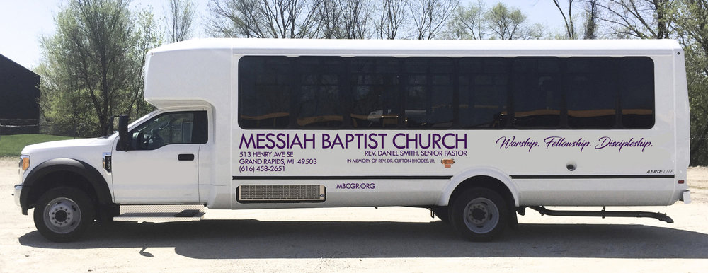 Need a ride to Worship Service? Our Transportation Ministry is in full swing and prepared to assist with a brand new, barrier-free ready bus! Simply click on the bus, or give us a call at the church for scheduling.