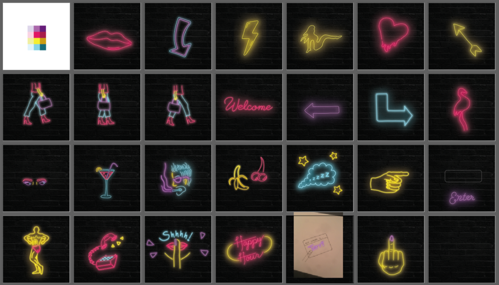 With many paths possible through the story, I wanted to have a different neon sign illustrated gif for each quiz prompt. The artboards I used to create those are shown above. In total, I had nearly 20 different web pages each with a different gif.