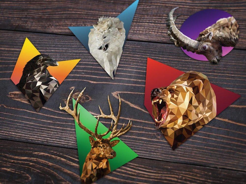 Low Poly Animals Sticker Mockup_web.jpg elk deer wolf triangles vector bear raven ram ibex steinbock crow sticker print die cut kiss cut