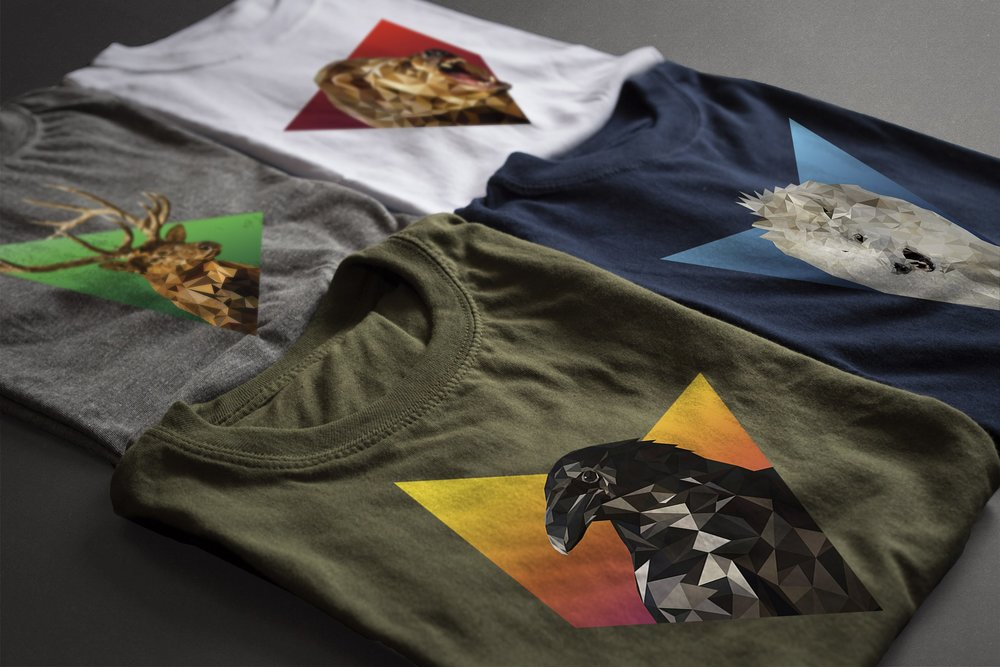 4 low poly shirts mockup 1.jpg raven crow wolf elk deer bear white vector triangle geometric portrait graphic tee tshirt design graphic design mockup