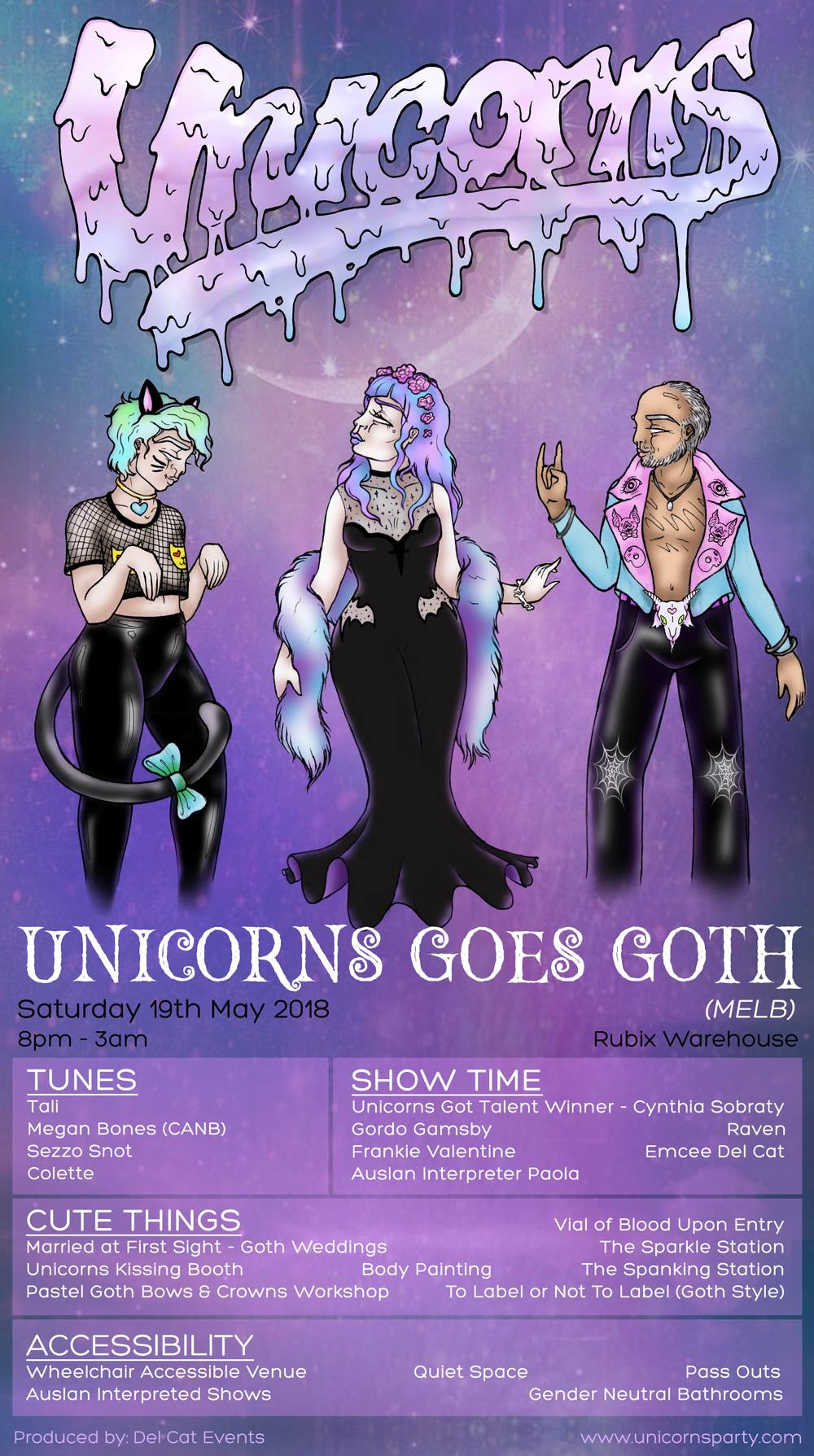 Unicorns -Goes Goth (MELB) - Saturday 19 May 2018Rubix Warehouse8pm - 3amSOLD OUT