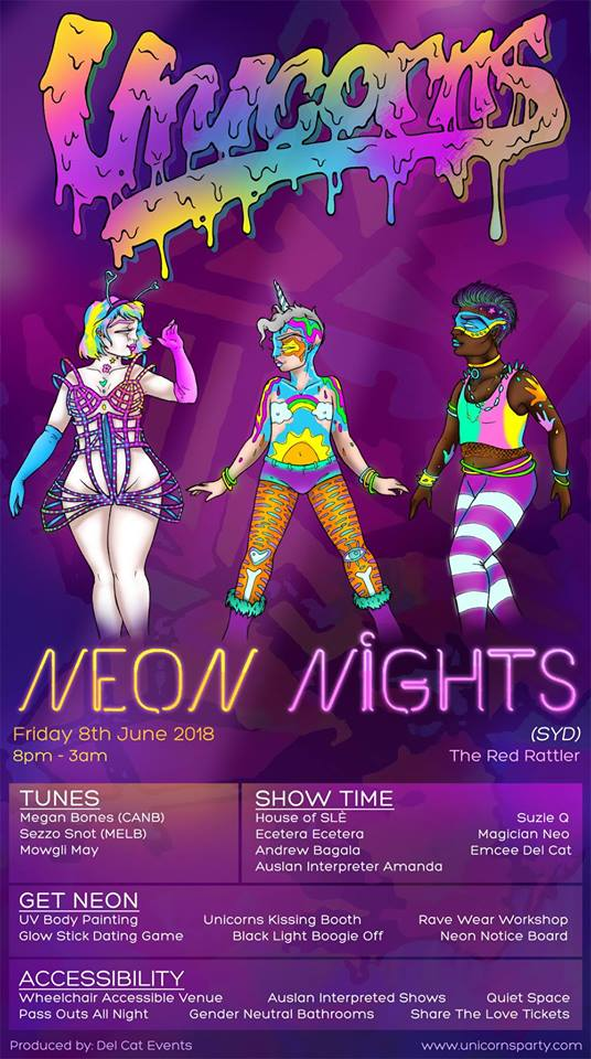 Unicorns -Neon Nights (SYD) - Friday 8 June 2018The Red Rattler8pm - 3amSOLD OUT