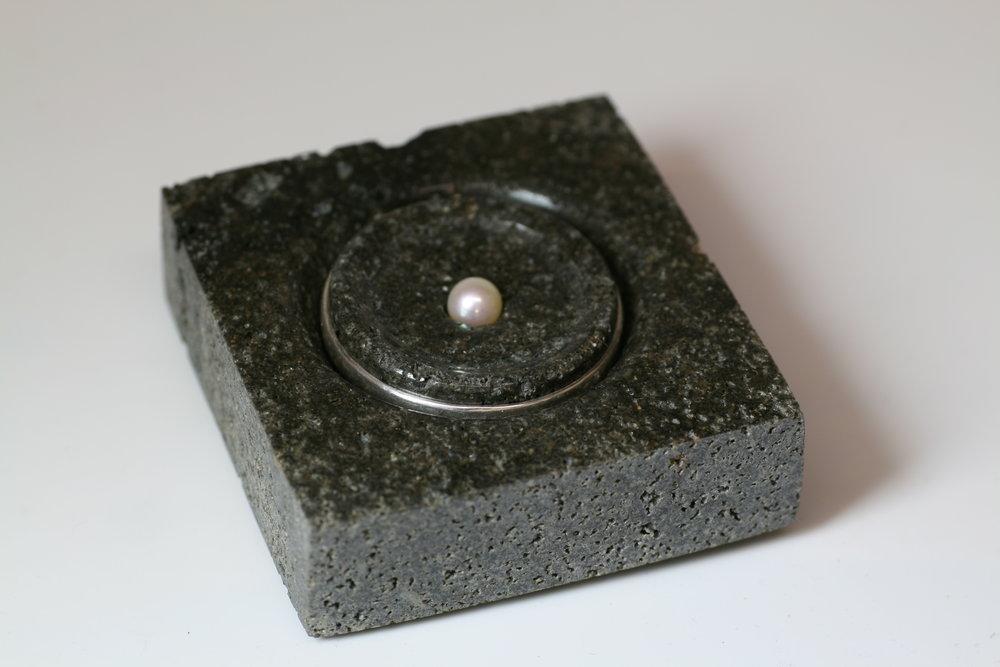 - A Ripple Brooch made from Bluestone.Bluestone, Sterling Silver & Pearl