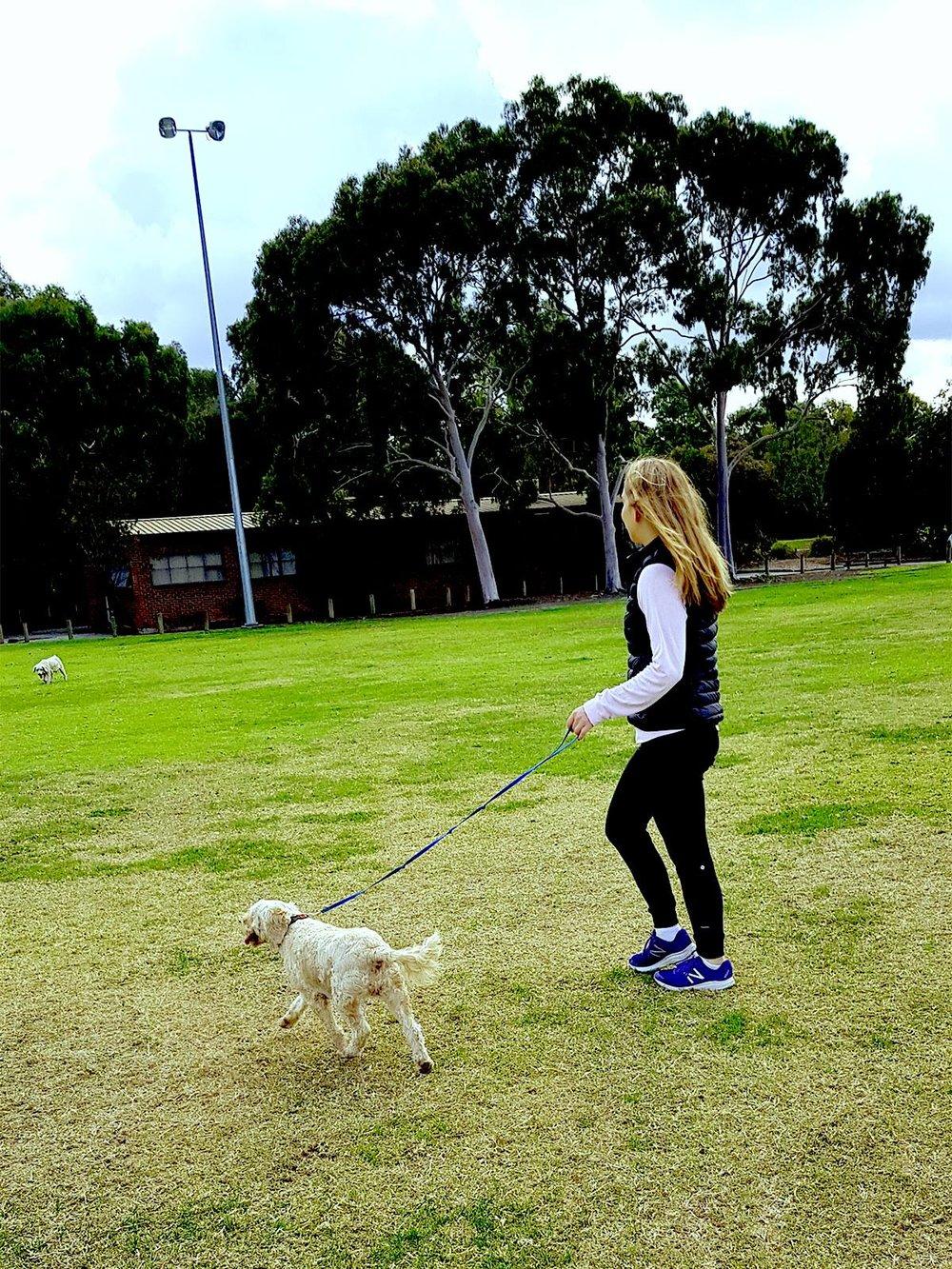 girl walking her dogs in park.jpg